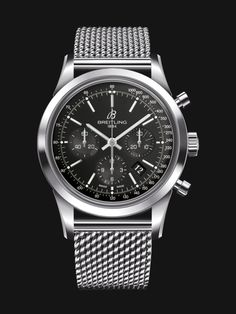 Transocean Chronograph watch by Breitling - stainless steel case and mesh bracelet with black dial