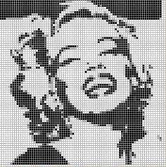 Beaded Cross Stitch, Cross Stitch Charts, Cross Stitch Patterns, Pixel Art, Bead Loom Patterns, Perler Patterns, Marilyn Monroe, Graph Paper Art, Pixel Pattern