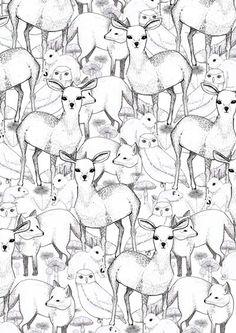 Black.White.Deer