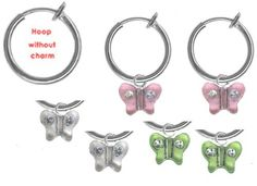 Set of 3 Girls Butterfly Non Pierced Clip on Hoop Earrings Stocking Stuffers BodySparkle JR. $11.97. Rhodium plated non pierced clip on hoops. Set of 3 colors clear-  pink - lime. Look for our complete earring collection over 50 styles available for kids. Packaged in  abeautiful gift bag. Perfect stocking stuffers