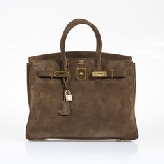 Hermes Birkin 35 Chocolate Veau Doblis Suede Gold Hardware Birkin | JaneFinds