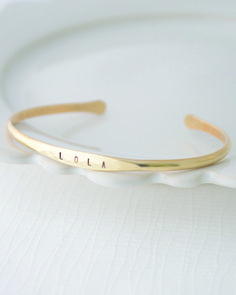 Personalized Stamped Bangle Bracelet by Olive Yew. www.oliveyew.com