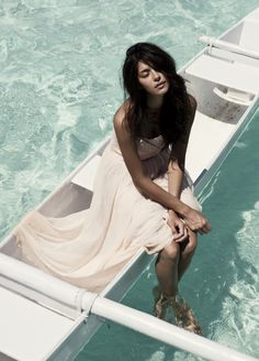 clear ocean water and pretty dress