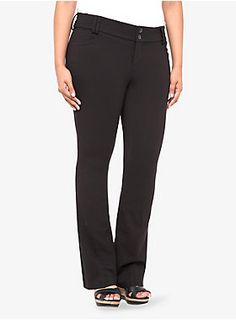 The All-Nighter Pant is your go-to style, around the clock - in wrinkle-free, power stretch ponte. We love the slimming, streamlined silhouette of this black Slim Boot Trouser - fitted through the thigh with a leg-lengthening slight flare at the knee. Trendy Plus Size Fashion, Trendy Plus Size Clothing, Plus Size Outfits, Slim Pants, Trouser Pants, Slim And Fit, Big And Tall Outfits, Plus Size Pants, Pants For Women