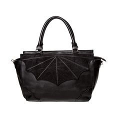 Black Widow Small Bat Wing Gothic Handbag by Banned ($35) ❤ liked on Polyvore featuring bags, handbags, goth bags, gothic handbags, goth purse, lace handbag and lace bag