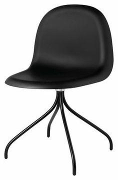 Chaise pivotante Gubi 9 / 4 pieds - Coque HiRek Coque noire / Piètement noir - Gubi