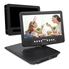 NAVISKAUTO 10.1 Inch HD 1080P Portable DVD/CD Player with SD Card Slot USB Port and 5 Hour Built-In Rechargeable Battery, 270° Swivel Screen, 3m AC/DC Adapter and Car Headrest Mount Case-Black