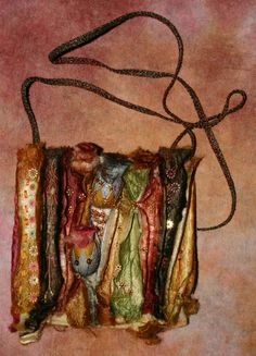 bag created from split down silk carrier rods stitched to felt.by Stef Francis Textile Fiber Art, Fibre Art, Farm Projects, Textiles, Recycle Plastic Bottles, Felt Crafts, Purses And Handbags, Hand Sewing, Embellishments