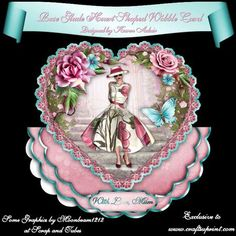 """The Rose Glade Heart Shaped Wobble Card Mini Kit on Craftsuprint designed by Karen Adair - This two sheet mini-kit will make this beautiful, large scallop wobble card, with a heart shaped scallop-edged over the edge topper. The kit contains a card, approximately 8"""" in diameter, and plenty of decoupage. The kit also includes 5 sentiment tags, one of which I have left blank so that you can personalise if you wish. If you like this check out my other designs, just click on my name. - Now…"""