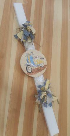 Λαμπάδα βάπτισης με θέμα την vespa!! Easter Ideas, Vintage Images, Christening, Decoupage, Rocks, Crafting, Wreaths, Spring, Creative