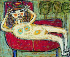 1943 Woman Trying a Hat by Jean Dubuffet (French best known for founding the art movement 'Art Brut' Tachisme, Outsider Art, Gottfried Helnwein, Francoise Gilot, Modern Art, Contemporary Art, Art Informel, Jean Dubuffet, Henri Fantin Latour