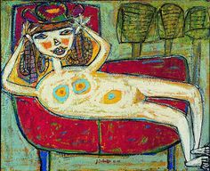1943 Woman Trying a Hat by Jean Dubuffet (French best known for founding the art movement 'Art Brut' Tachisme, Modern Art, Contemporary Art, Art Informel, Jean Dubuffet, Art Brut, Naive Art, Illustrations, Outsider Art