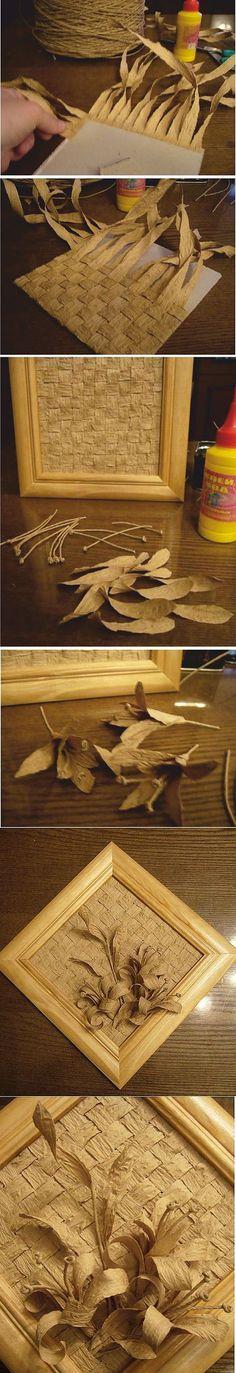 Painéis feitos de barbante de papel