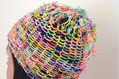 Rainbow loom band hat - cute and colourful!