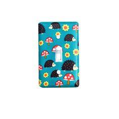 Hedgehog Light Switch Plate Cover / Kids Girls Playroom Bedroom / Woodland Nursery Decor / Norwegian Woods Too Hedgehoglets