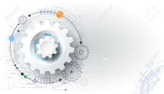 Vector Futuristic Technology, 3d White Paper Gear Wheel On Circuit.. Stock Photo, Picture And Royalty Free Image. Image 47943022.