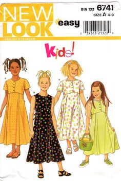 Girls' Dress Pattern  New Look 6741  Size 4 to 9 by ErikawithaK