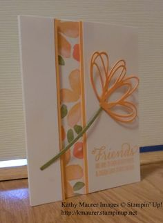 greeting card ... inset panel with printed paper .. die cut loopy flower .... luv the peachy colors ...