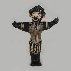 #adobegallery - Cochiti Pottery Figurine of a Male Opera Singer by Virgil Ortiz (1969-present) - Virgil has an artistic eye unlike any other pueblo artist I know. He must thoroughly enjoy fashioning figurines and I can imagine him with a smile as he thinks of how to dress them and how to design the decorations. He must achieve a feeling of pleasure on completing one. If he enjoys his creations as much as collectors do, then he must be a happy artist.