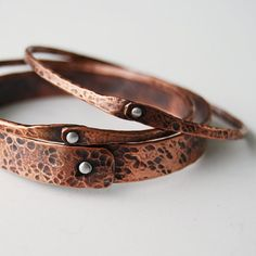 Mixed metal Stacking Bangles by cyndiesmithdesigns on Etsy
