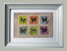 Briefmarken Postage Stamp Collage Schmetterlinge im Bilderrahmen
