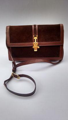 e9e9c87cc12f CELINE Vintage Brown Leather Shoulder Bag. French designer purse. Leather  Shoulder Bag