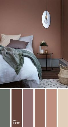 15 Earth Tone Colors For Bedroom { sandstone/copper tan cool green } , mauve col. 15 Earth Tone Colors For Bedroom { sandstone/copper tan cool green } , mauve color scheme for bedroom, color palette, mauve color palette - Bedroom Colour Palette, Bedroom Wall Colors, Bedroom Color Schemes, Bedroom Green, Colors For Bedrooms, Mauve Bedroom, Copper Bedroom Decor, Calming Bedroom Colors, Home Color Schemes