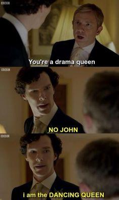 Sherlock = Consulting Detective and Dancing Queen Sherlock Bbc, Sherlock Fandom, Sherlock Holmes Funny, Sherlock Humor, Watson Sherlock, Jim Moriarty, Sherlock Quotes, Fandoms Unite, Benedict Cumberbatch
