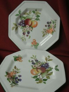 Johnson Brothers China Dinnerware Fresh Fruit - 2 Square salad plate & Vintage Johnson Bros Castle on the Lake pattern Johnson Bros of ...