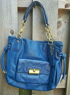 COACH 14758 Kristin Leather East West Blue Tote Purse Bag Satchel Brass Chain