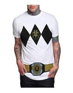 Amazon.com: Power Rangers White Ranger with Belt Costume T-Shirt (X-LARGE): Clothing