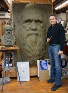 Darwin, portrait sculpture