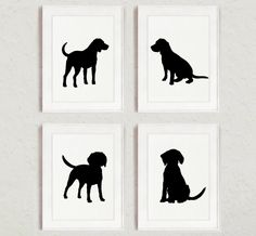 Black Dog Silhouette, Set of 4, Beagle Drawing, Abstract Dogs Decor, Animal Painting, Ink Illustration by Silhouetown on Etsy