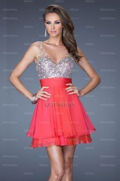 A-Line/Princess V-neck Straps Chiffon Sequined Short/Mini Prom Dress - IZIDRESSES.com at IZIDRESSES.com