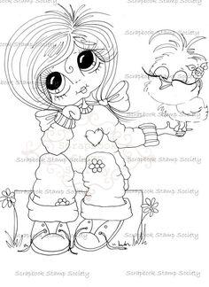 $3.00 INSTANT DOWNLOAD Digital Digi Stamps Big Eye Big Head Dolls Digi  My Besties IMG841 By Sherri Baldy