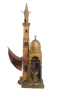"""Franz Bergman 1838-1894 """"THE MOSQUE,"""" A COLD PAINTED BRONZE TABLE LAMP, Vienna, circa 1890's"""