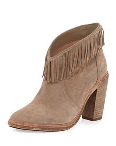 Loren Fringe Suede Bootie, Mousse Tan by Joie at Neiman Marcus.