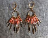 Boucles d'oreille =Apache= corail et doré