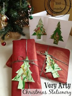 Love this. Create arty paper with a fun art project using ornaments and then turn it into  Kid Made Christmas Stationery. Click for the how to.