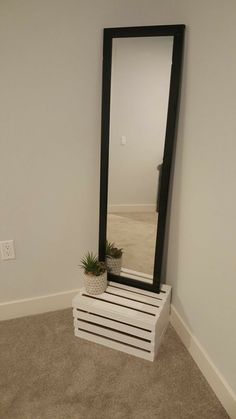 Amazing way to place your mirror. Inexpensive and adds class and warmth. Room Design Bedroom, Apartment Bedroom Decor, Room Ideas Bedroom, Home Room Design, Small Room Bedroom, Diy Bedroom, Cute Room Decor, Aesthetic Room Decor, Amazing