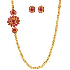 SthriElite Fashionable Gold Plated Ruby Stone Mope Chain