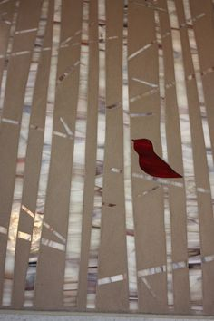 Red Bird in Birch Trees, stained glass mosaic art  on etsy.com