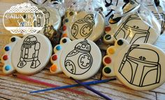 Paint Your Own Star Wars cookies. Lego Cookies, Star Wars Cookies, Paint Cookies, Star Wars Cake, Cookies For Kids, Star Wars Party, Star Wars Birthday, 5th Birthday, Royal Icing Cookies