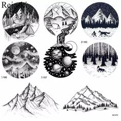 Black Round Mountain River Temporary Tattoo Stickers Women Body Arm Timber Small Fake Tatoos Men Ankle Waterproof Tattoo Moon - AliExpress - Detail Feedback Questions about Black Round Mountain River Temporary Tattoo Stickers Women Body Arm - Cool Back Tattoos, Back Tattoos For Guys, Tattoos For Women Small, Tatoos Men, Mens Tattoos, Body Art Tattoos, Sleeve Tattoos, Tattoo Ink, Arm Tattoo