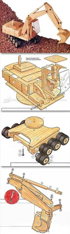 Wooden Toy Digger Plans - Wooden Toy Plans and Projects | http://WoodArchivist.com #woodworkingplans