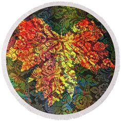 Maple Round Beach Towel featuring the photograph Maple Leaf With Lace by Nareeta Martin
