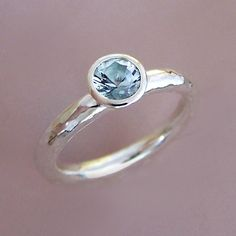 Aquamarine and Sterling Silver Hand Hammered Ring | Elizabeth Scott Jewelry