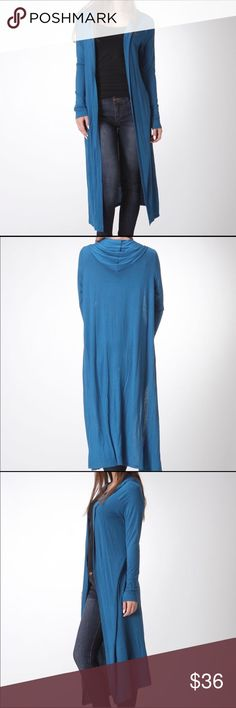 🐬Bellino Hooded Open Cardigan🐬 🐳97% Rayon/3% Spandex 🐳Color: Teal  🐳Ideal transitional piece to add to your wardrobe.  🐳Fits true to size. Bellino Clothing Sweaters Cardigans