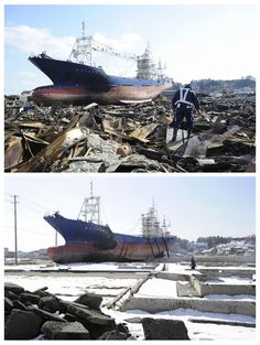 Tsunami: One year later Japan Earthquake, Earthquake And Tsunami, Tsunami 2011, Earth Powers, Then And Now Photos, Abandoned Ships, Moment Of Silence, Miyagi, Big Waves