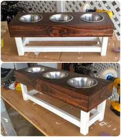 2nd dog required upgraded bowl stand. Went for a darker stain (minwax Honey) and finished the legs with a medium distress and SC Johnson Paste Wax for the rustic look. Let's see how the dogs like it.